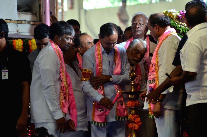 Telangana Chief Minister and Telangana Rashtra Samithi (TRS) chief K Chandrasekhar Rao and others at TRS plenary in Hyderabad, on April 24, 2015. - K Chandrasekhar Rao
