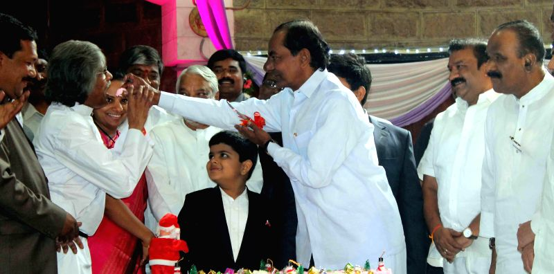 Telangana Chief Minister K Chandrasekhar Rao during Christmas celebrations at Centenary Methodist Church in Hyderabad, on Dec 25, 2014. - K Chandrasekhar Rao