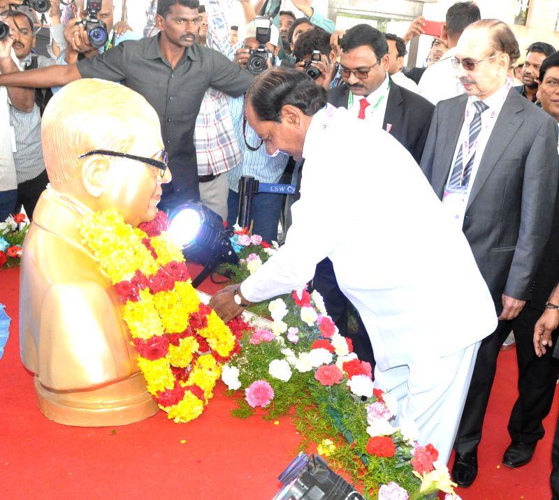 Telangana Chief Minister K Chandrashekar Rao during the inauguration of DECK EXPO 2015 in Hyderabad on Feb 13, 2015. Also seen Godrej group chief Adi Godrej. - K Chandrashekar Rao
