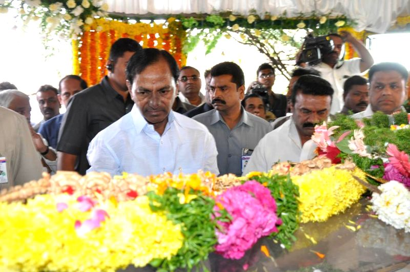 Telangana Chief Minister K Chandrasekhar Rao pays his last respect to multilingual Indian film producer Daggubati Ramanaidu (D Ramanaidu), who breathed his last on 18th Feb 2015 , in ... - K Chandrasekhar Rao