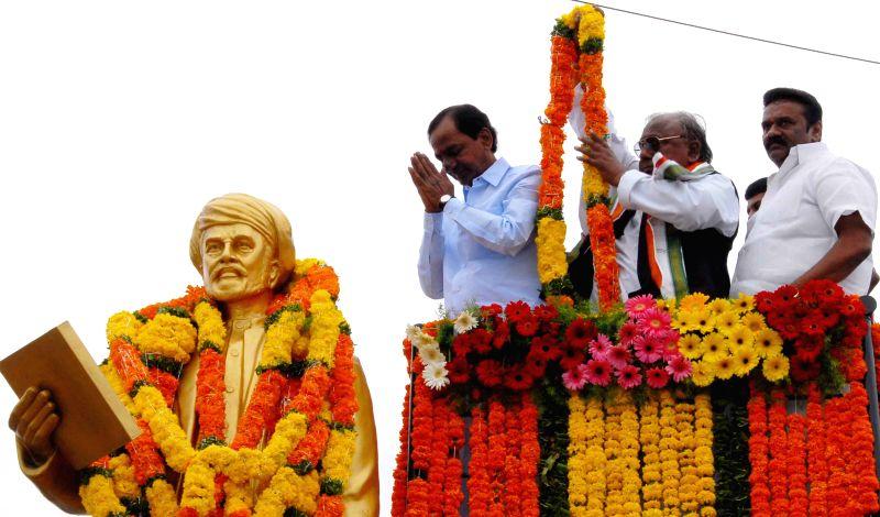 Telangana Chief Minister K Chandrasekhar Rao during a programme organised to celebrate the birth anniversary of Jyotirao Phule in Hyderabad on April 11, 2015. - K Chandrasekhar Rao