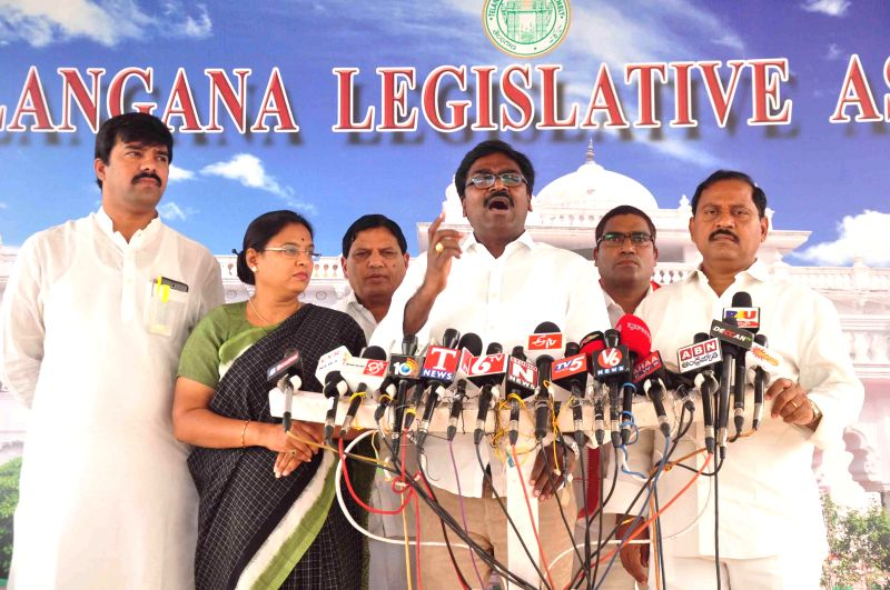 Telangana Congress legislator Ajay Kumar addresses a press conference at the state assembly premises in Hyderabad, on March 16, 2015. - Ajay Kumar