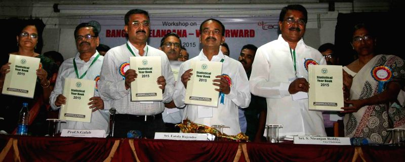 Telangana Finance Minister Eatela Rajender launches  Statistical Year Book - 2015 in Hyderabad, on June 5, 2015. - Eatela Rajender