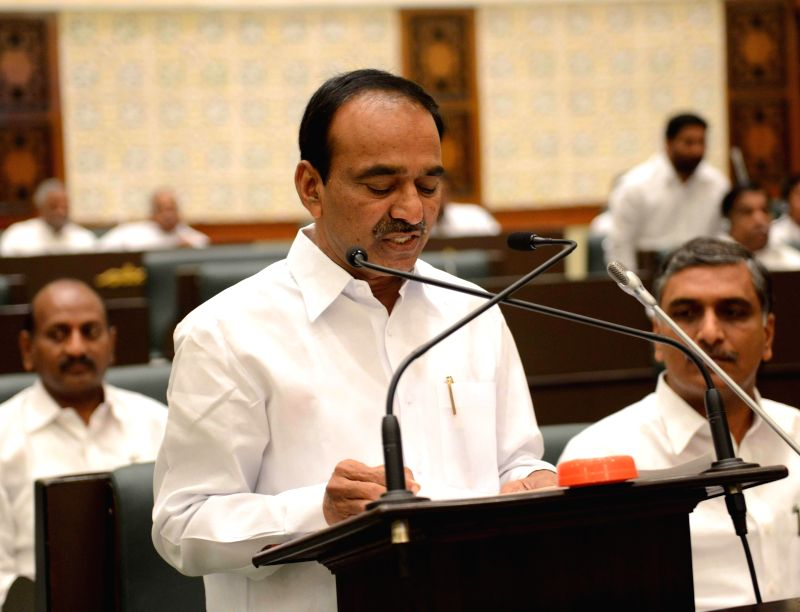Telangana Finance Minister Etela Rajender presents state budget for 2015-16 arrives at the state assembly in Hyderabad, on March 11, 2015. - Etela Rajender