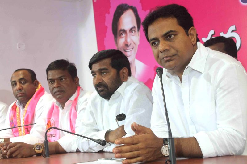 Telangana IT Minister K.T. Rama Rao addresses a press conference in Hyderabad on March 7, 2015.