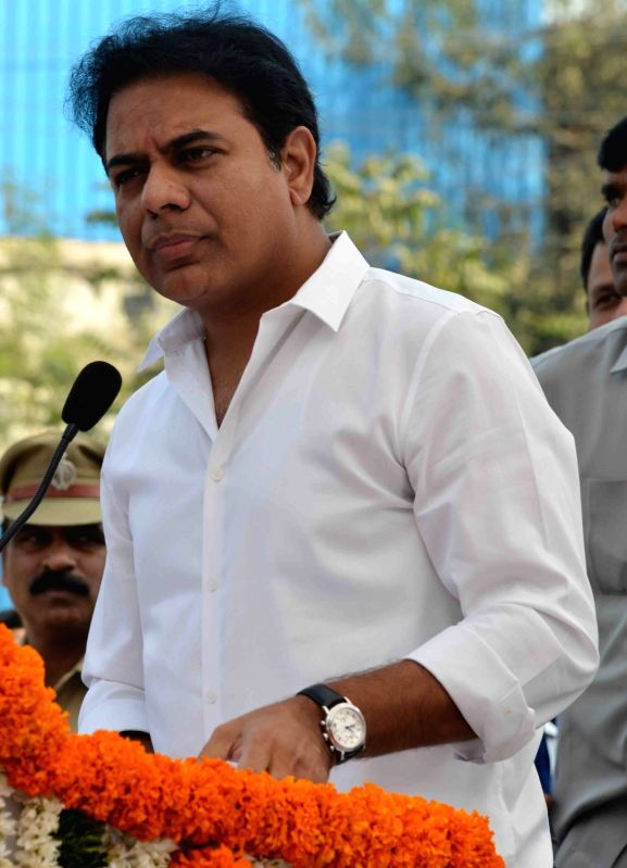 Hyderabad: Telangana Municipal Administration and Urban Development Minister K. T. Rama Rao addresses during the inauguration of an underpass at Ayyappa Society Junction in Madhapur, Hyderabad on Jan 3, 2018.