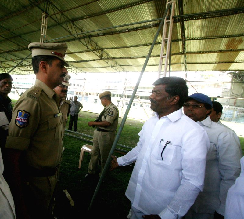 Telangana Rashtra Samithi (TRS) leader T Padma Rao Goud  inspects preparations for TRS upcoming rally in Hyderabad, on April 18, 2015.