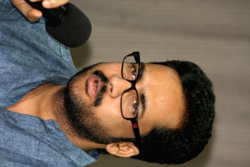 Telugu actor Sivaji addresses press in Hyderabad, on March 23, 2015.