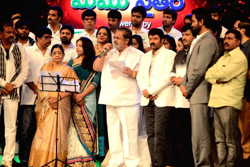 Telugu Film Industry arranged a Programme to raise funds to Hudhud cyclone victims at Annapoorna Studios in Hyderabad on Sunday, 30th November, 2014 (Photo: IANS),