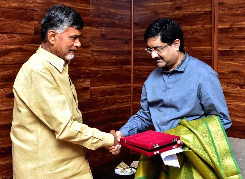 The chairman of the Aditya Birla Group, Kumar Mangalam Birla calls on Andhra Pradesh Chief Minister N. Chandrababu Naidu in Hyderabad, on Jan 8, 2015. - N. Chandrababu Naidu
