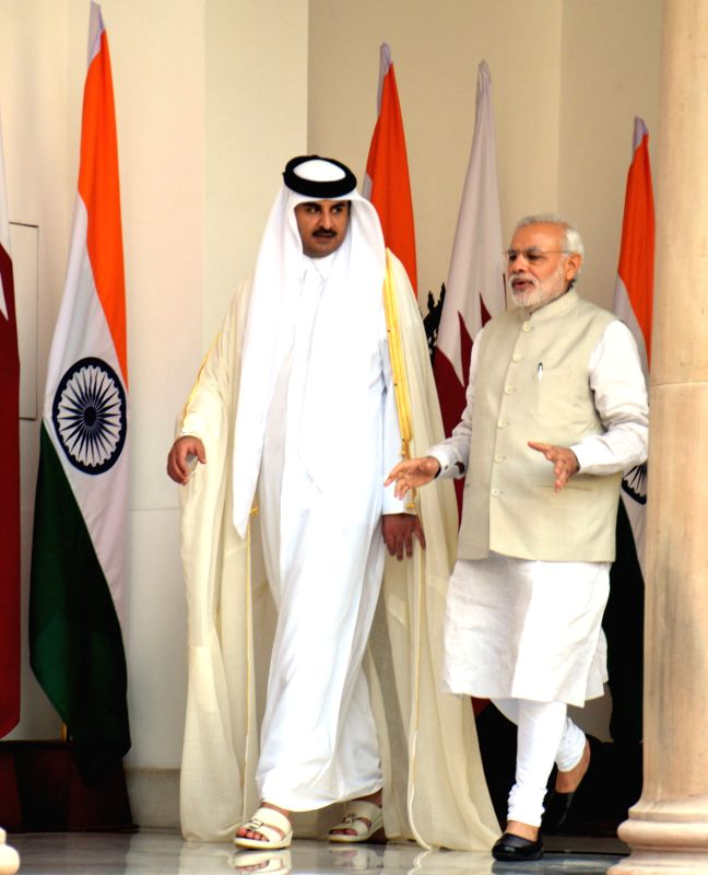The Emir of the State of Qatar, His Highness Sheikh Tamim Bin Hamad Al-Thani during a meeting with Prime Minister Narendra Modi at the Hyderabad House in New Delhi, on March 25, 2015. - Narendra Modi