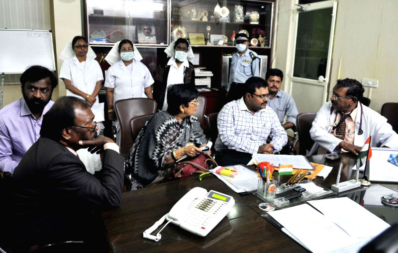 The medical team sent by the central government to take stock of swine flu in Telangana visits  Gandhi Hospital in Hyderabad, on Jan 22, 2015.