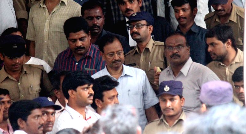 The prime accused in the multi-crore Satyam scam B. Ramalinga Raju arrives to appear before a special CBI court in Hyderabad, on April 9, 2015. The court sentenced Raju, his two brothers ...