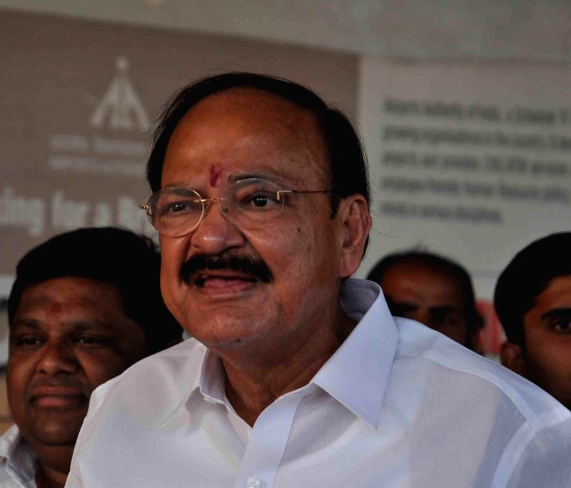The Union Minister for Urban Development, Housing and Urban Poverty Alleviation, and Parliamentary Affairs, M. Venkaiah Naidu addresses a press conference in Hyderabad, on March 15, 2015. - M. Venkaiah Naidu