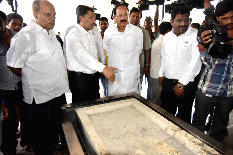 The Union Minister for Urban Development, Housing and Urban Poverty Alleviation and Parliamentary Affairs M. Venkaiah Naidu at the inauguration of a GHMC crematorium near Whisper valley in ... - M. Venkaiah Naidu