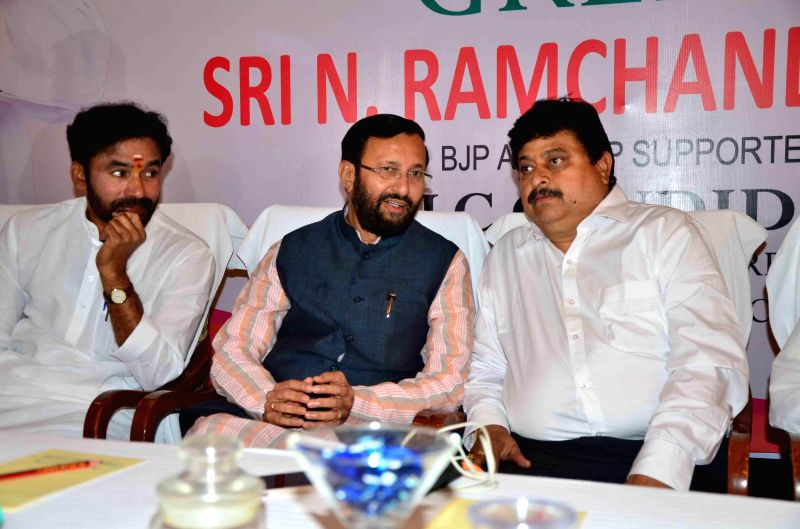 The Union Minister of State for Environment, Forest and Climate Change (Independent Charge) Prakash Javadekar and Telangana BJP chief G Kishan Reddy during a party programme in Hyderabad, ... - G Kishan Reddy