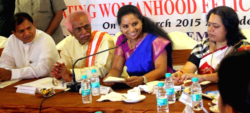 The Union Minister of State for Labour and Employment (Independent Charge) Bandaru Dattatreya, TRS MP K. Kavitha and others during a programme organised on International Women's Day in ...