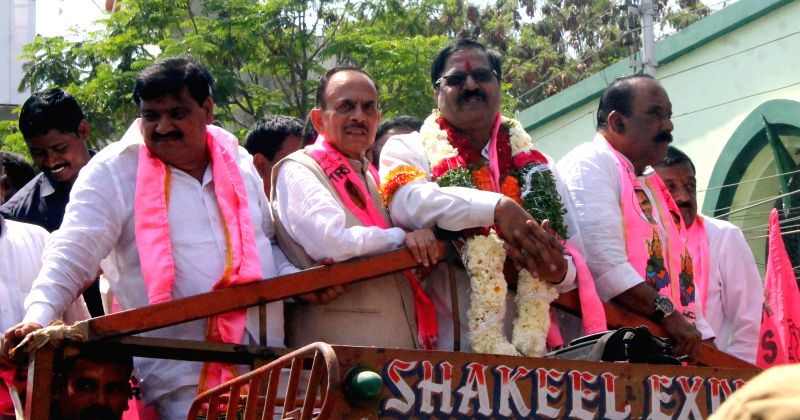 TRS leader G Deviprasad participates in a roadshow before filing his nomination papers for the Graduates' Constituency MLC elections in Hyderabad on Feb 25, 2015.
