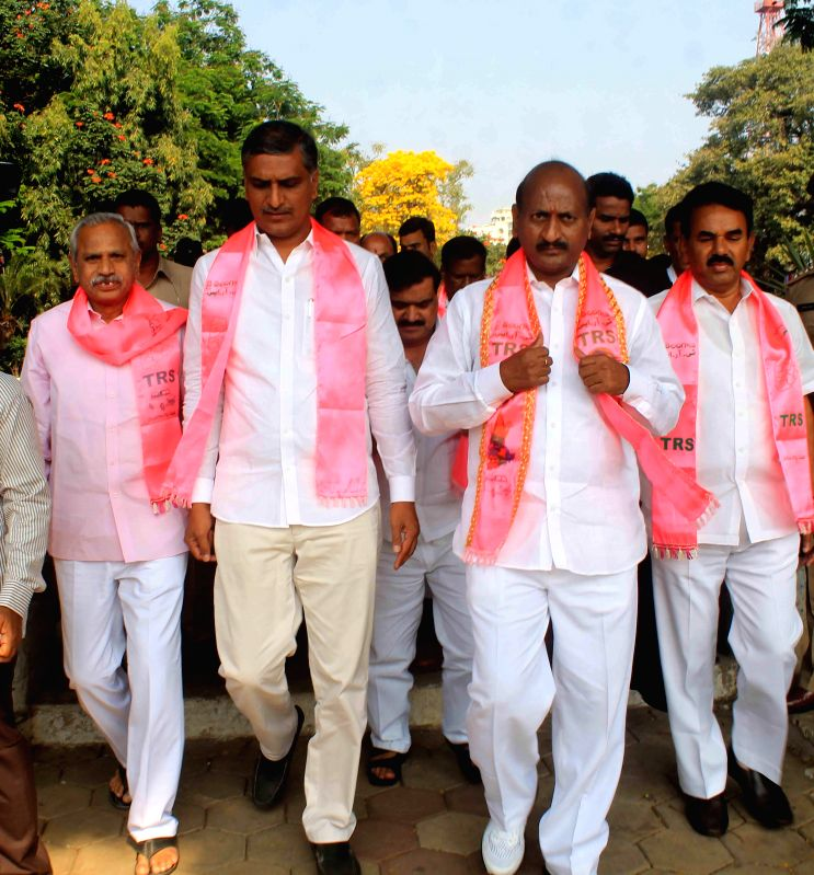 TRS legislators pay tribute to martyrs of at the  Gun Park in Hyderabad, on March 7, 2015.