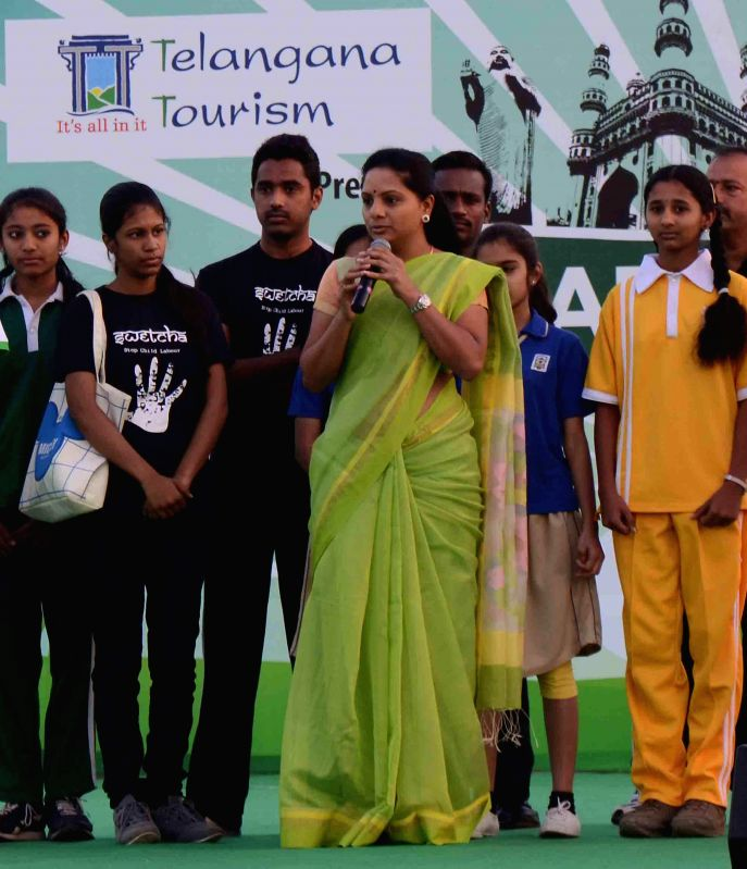 TRS MP K. Kavitha addresses during a programe organised by the Tourism Department of Telangana Government in Hyderabad, on Feb 22, 2015.