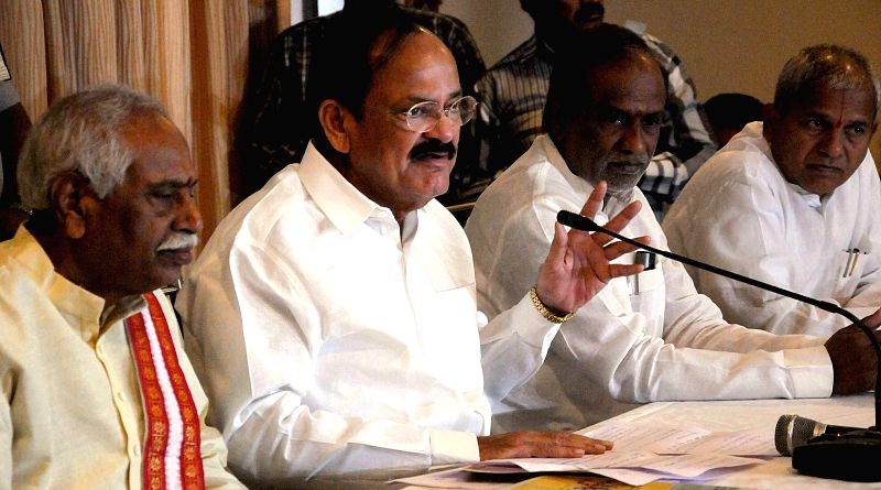 Union Minister for Parliamentary Affairs M. Venkaiah Naidu during a press conference in Hyderabad on Dec. 6, 2014. Also present were Union minister Bandaru Dattatreya and BJP leader in ... - Bandaru Dattatreya and M. Venkaiah Naidu