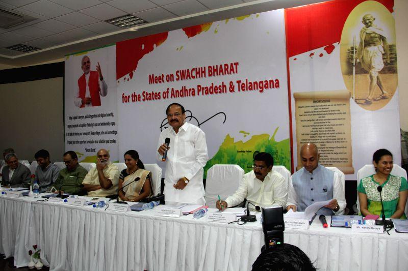 Union Minister for Urban Development M Venkaiah Naidu nominate the Brand Ambassadors for Swachh Bharat Abhiyan from the states of Telangana and Andhra Pradesh, in Hyderabad on Jan. 5, ... - Venkaiah Naidu