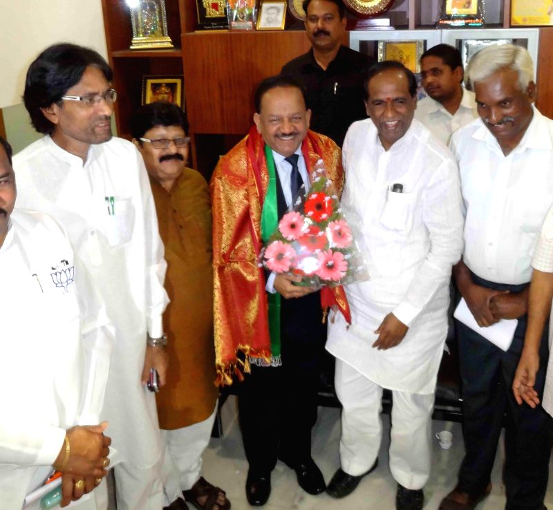 Union Minister of Science and Technology Dr. Harsh Vardhan at BJP office in Hyderabad, on Dec 26, 2014.