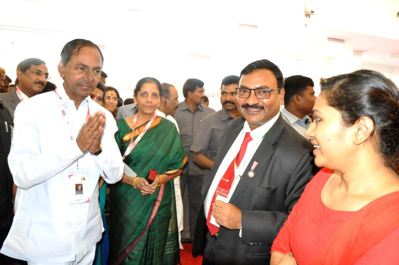 Union Minister of State for Commerce and Industry (Independent Charge) Nirmala Sitharaman and Telangana Chief Minister K Chandrashekar Rao during the inauguration of DECK EXPO 2015 in ... - K Chandrashekar Rao