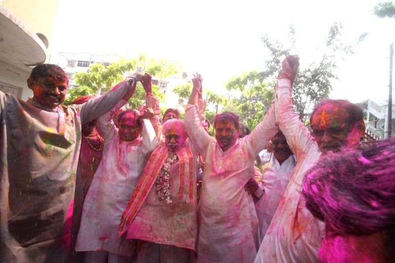 Union Minister of State for Labour and Employment (Independent Charge), Bandaru Dattatreya celebrates Holi with BJP workers in Hyderabad, on March 6, 2015.