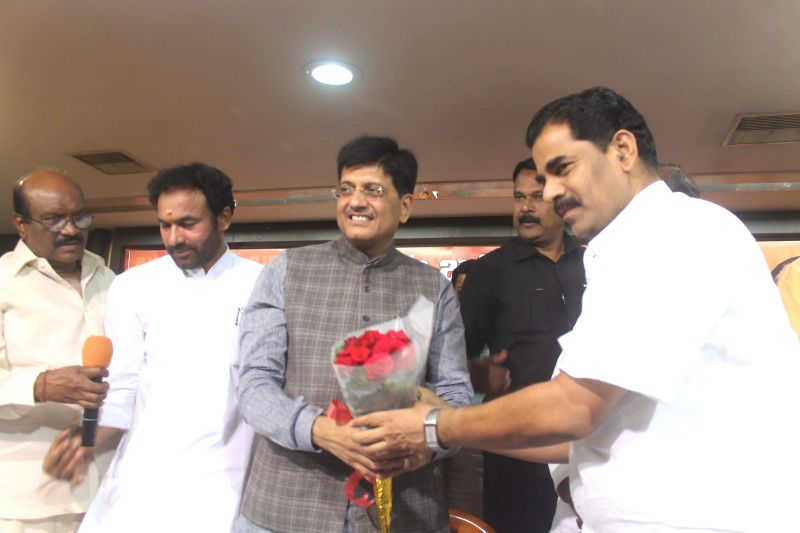 Union Minister of State (Independent Charge) for Power, Coal and New and Renewable Energy and BJP leader Piyush Goyal with Telangana BJP chief G Kishan Reddy during a party programme in ... - G Kishan Reddy