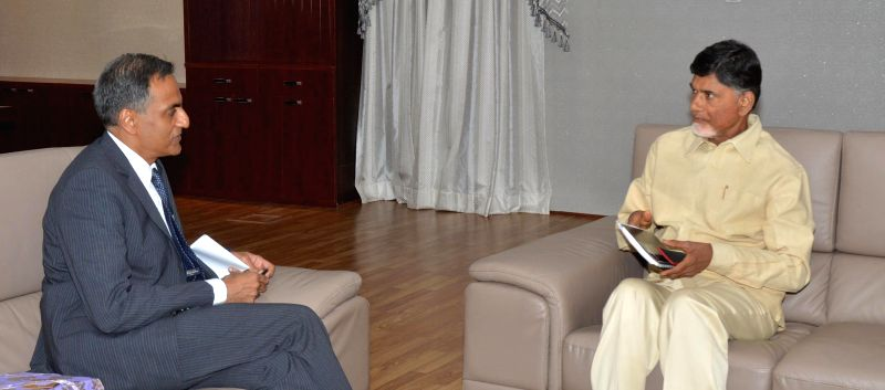 US Ambassador to India Richard Verma calls on Andhra Pradesh Chief Minister N. Chandrababu Naidu in Hyderabad, on Feb 23, 2015. - N. Chandrababu Naidu and Richard Verma