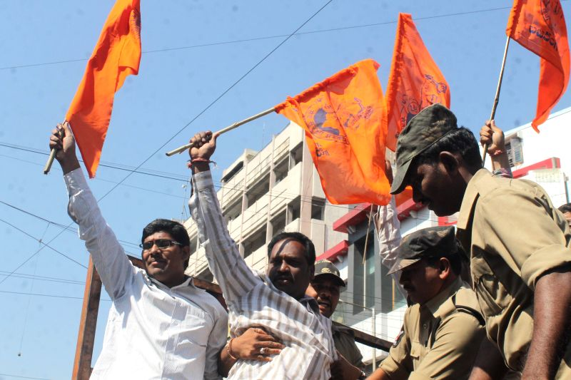 VHP activists stage a demonstration in Hyderabad on Dec 1, 2014.