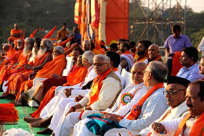VHP leader Praveen Togadia with others during a public meeting at NTR Stadium in Hyderabad, on Dec 28, 2014.