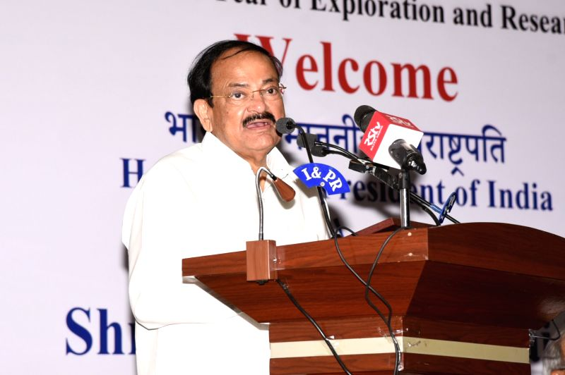 Hyderabad: Vice President M. Venkaiah Naidu addresses at the 70th year of exploration and research of atomic minerals, at the Atomic Minerals Directorate (AMD) for Exploration and Research, in Hyderabad on May 16, 2019. (photo: IANS/PIB)