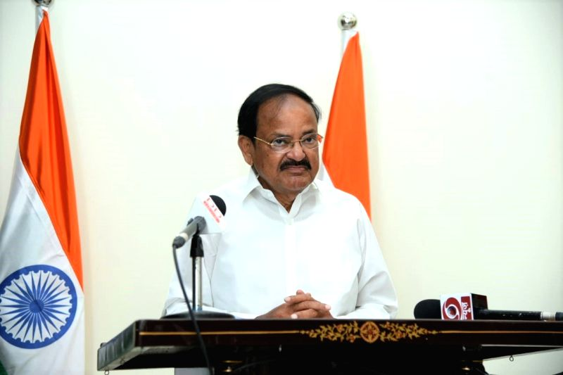 """Hyderabad: Vice President of India and Rajya Sabha Chairman M.Venkaiah Naidu speaks on """"Journalism: Past, Present and Future'"""" while delivering the M.V. Kamat Memorial Endowment Lecture in virtual mode from Hyderabad, on Dec 18, 2020. (Photo: IANS/"""
