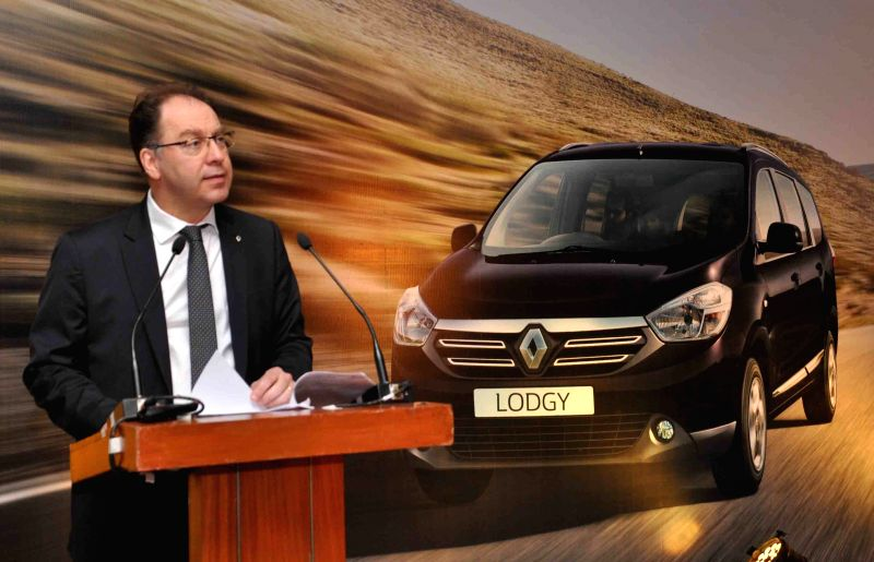 Vice President Sales and Marketing, Renault India Rafael Treguer addresses during the launch of Renault Lodgy, a MPV, in Hyderabad on April 23, 2015.