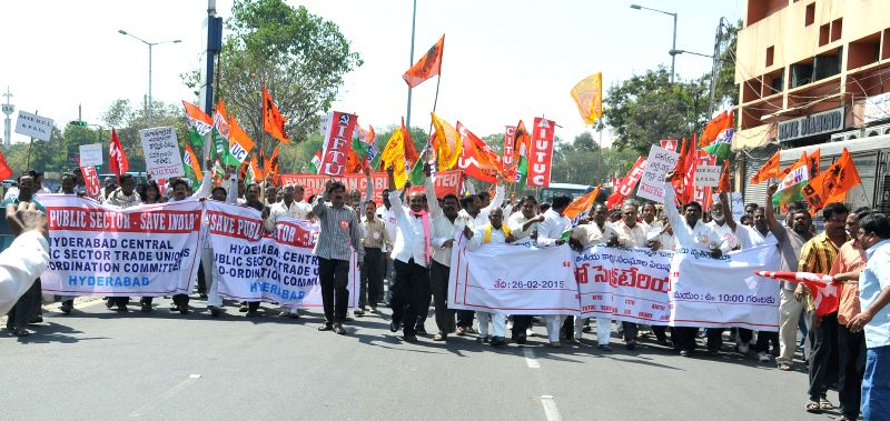 Workers affiliated to various trade unions participate in a rally against the central government in Hyderabad, on Feb 26, 2015.