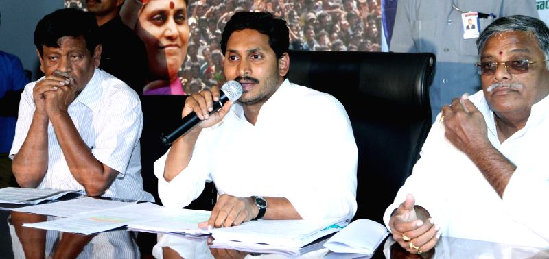 Y S R Congress chief YS Jaganmohan Reddy addresses a press conference in Hyderabad, on March 17, 2015.