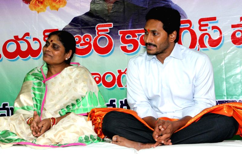 Y S R Congress chief YS Jaganmohan Reddy and the honoury president of the party Y. S. Vijayamma during Ugadi celebrations in Hyderabad on March 21, 2015. - Jaganmohan Reddy