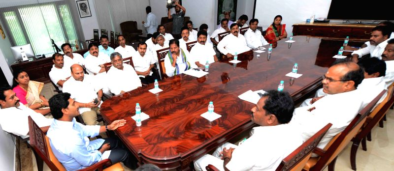 Y S R Congress chief YS Jaganmohan Reddy during a meeting with party legislators in Hyderabad on March 23, 2015. - Jaganmohan Reddy