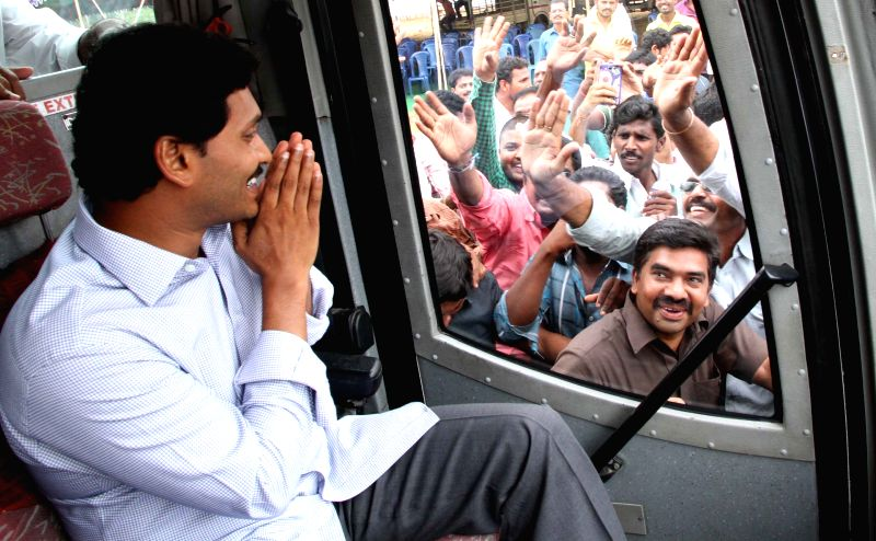 Y S R Congress chief YS Jaganmohan Reddy embarks on a three-day long bus yatra to the Dowleswaram Barrage from Hyderabad on April 15, 2015.