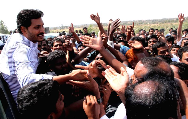 YSR Congress chief Y. S. Jaganmohan Reddy during `Rythu Bharosa Yatra` in Anantapur district of Andhra Pradesh on Feb 25, 2015.