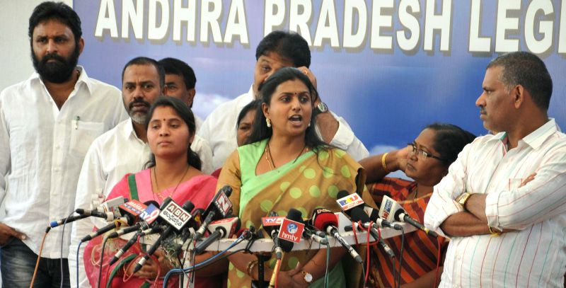 YSR Congress leader R.K. Roja addresses a press conference in Hyderabad, on Dec 22, 2014.