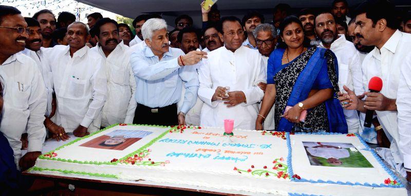 YSR Congress leader Y. S. Sharmila during a programme organised on the birthday of YSR Congress chief Y. S. Jaganmohan Reddy in Hyderabad, on Dec 21, 2014.
