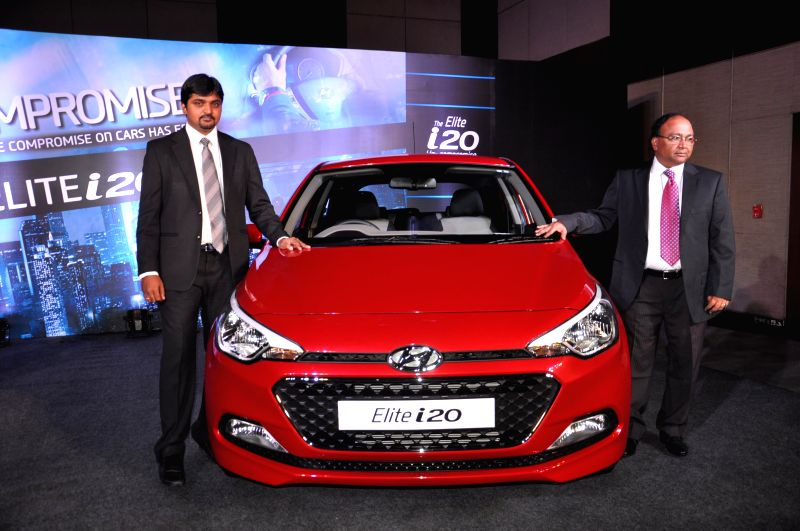 Hyundai Motor India Limited launches `Elite i20` during a press conference in Hyderabad on Aug 12, 2014.