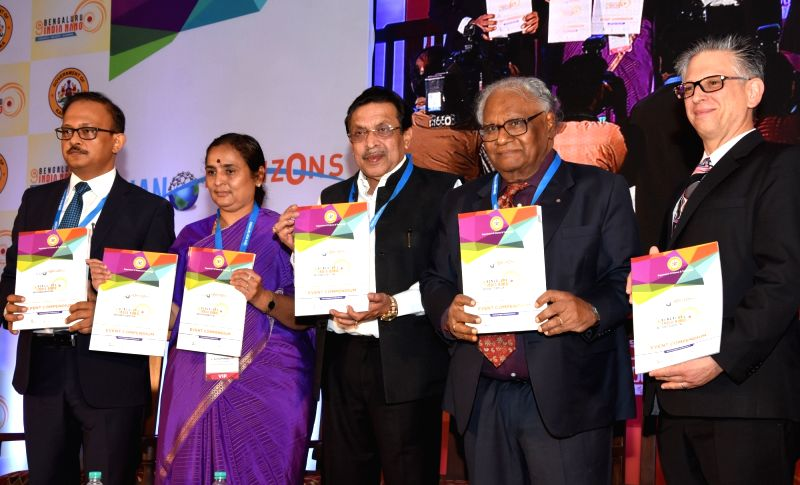 IAS officer K Ratna Prabha, Karnataka Planning, Statistics, Science and Technology Minister M R Seetharam, Jawaharlal Nehru Centre for Advanced Scientific Research president C.N.R. Rao and ... - M R Seetharam and R. Rao