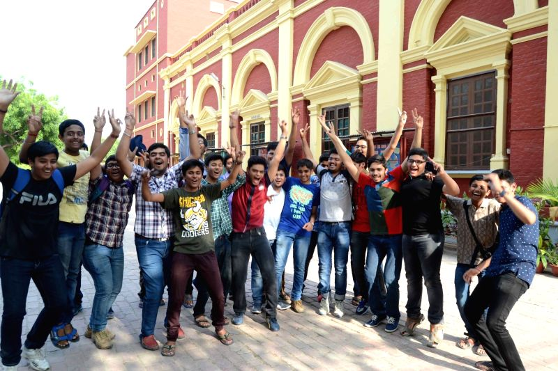 ICSE students celebrate after declaration of results in Allahabad, on May 6, 2016.