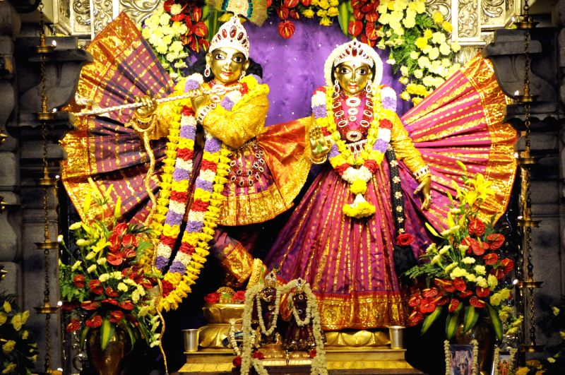 Idols of Krishna and Radha at ISKCON Temple on Krishna Janmastami in Bangalore on Aug 17, 2014.