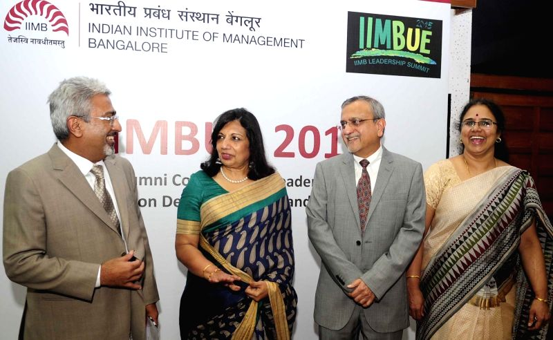 IIMBUE 2015 Convenor Harish Mittal, Chairman of Biocon India Limited Dr. Kiran Mazumdar Shaw, Director of IIMB Dr. Sushil Vachani during a press conference regarding IIMBUE 2015 in ...