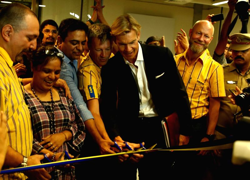 IKEA Group CEO Jesper Brodin, Telangana's IT Minister KT Rama Rao and Sweden's Ambassador to India Klas Molin at the inauguration of the 1st IKEA store in India; in Hyderabad on Aug 9, ... - K and Rao